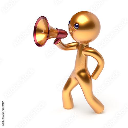 u0026quot megaphone character man speaking bullhorn making announcement news golden stylized human