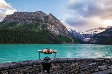 Lake Louise at sunset in Banff National Park, Canada