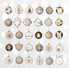 Set of Christmas balls with ornaments