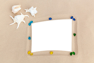 photo frames on sand