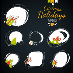 Merry Christmas vector drawing frames at darc background