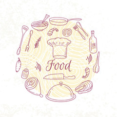 Round card with outline food icons. Doodle elements for menu