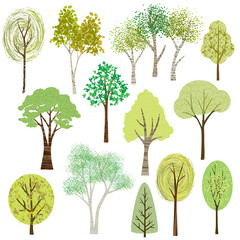 vector textured tree graphics