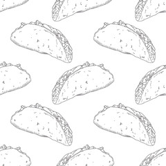 Seamless pattern with hand drawn taco. Background for fast food