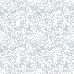Hand drawn outline fashion seamless pattern. Doodle background