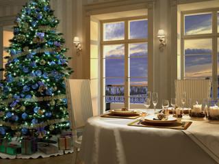 heiliger abend mit weihnachtsbaum und dekorativen tisch