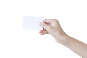 Woman hand holding a white card isolated on white background