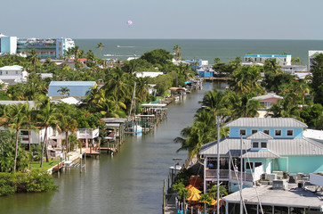 Elevated view of Fort Myers Beach downtown area