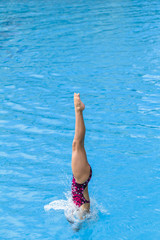 Aquatic Pool Diving Girl Water Entry
