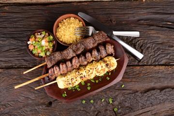 Beef, Mozzarella and Chicken Hearts Kebabs