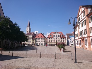 The market square of Ehingen at the Danube river, Germany.