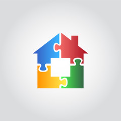 House icon, puzzle / jigsaw, vector