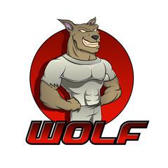 Cartoon werewolf on the red background
