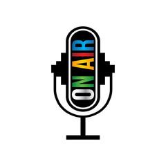 Retro microphone on air logo