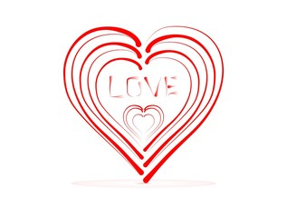 Small red hearts in a large heart with the word love with red shadow on white background