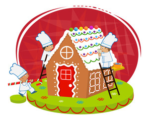 Chefs and Gingerbread house - Cute chefs are decorating a gingerbread house. Eps10