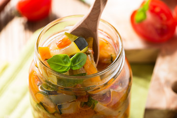 Homemade healthy vegetable  preserves in glass jar
