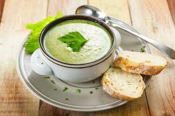 Homemade cream of broccoli soup
