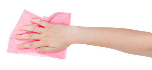 hand with pink dusting rag isolated on white