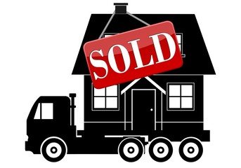 Move Service, Truck, House and sign Sold
