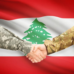 Men in uniform shaking hands with flag on background - Lebanon