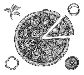 Set of hand drawn ink pizza and ingredients. Black and white vec