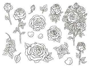 Set of ink hand drawn stylized flowers