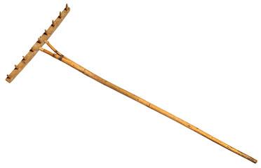 Garden rake isolated on white.  Vintage Retro Wooden Rake