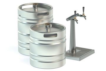Beer metallic kegs and tap