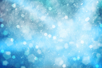 Lovely blue colored abstract snowfall Christmas and New Year illustration background. Beautiful blue colored Christmas and New Year Holiday greeting card with place for message.