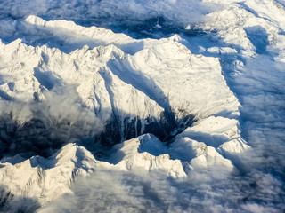 snow covered mountains at the Alps