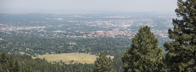 Boulder, Colorado Aerial Panorama of Downtown City