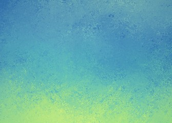 blue background with yellow green grunge border design, cool fresh colors and rough distressed texture, blank website or brochure background template