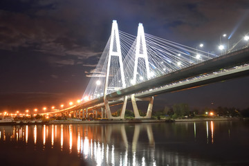 Cable stayed bridge at night.