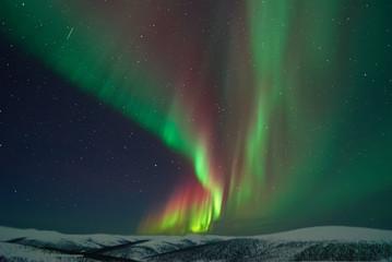 Aurora Borealis and meteors in Alaska