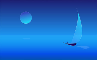 Man in a sailboat in the moonlight