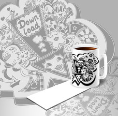 Concept with cup of coffee and down load doodle monsters in white black