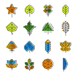 Wall Mural - Leaf icon set in line style