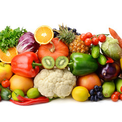 Keuken foto achterwand Keuken fruit and vegetable isolated on white background