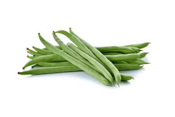 stack of French beans on white background
