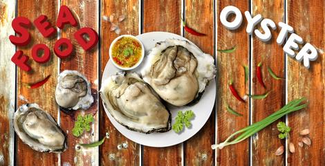 seafood on wood table illustration