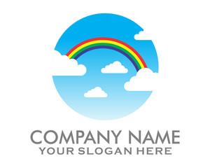 rainbow sky logo vector