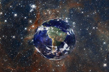 The universe with stars and a globe