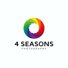 4 seasons photography leaf colorfull icon logo