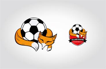 Sleep Fox Animal Football Badge Logo Sport Icon