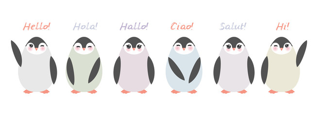 Funny penguins on white background. Hello in English Spanish