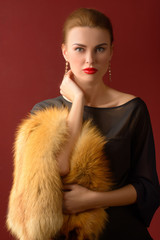 Stylish woman in fur