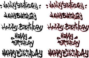 happy birthday hand drawn text tagged with graffiti fonts
