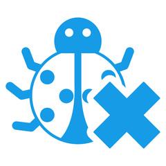 Icono aislado bicho error azul