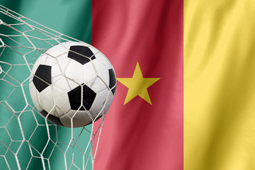 Ball leaps out of the flag of Cameroon, where soccer is a nation